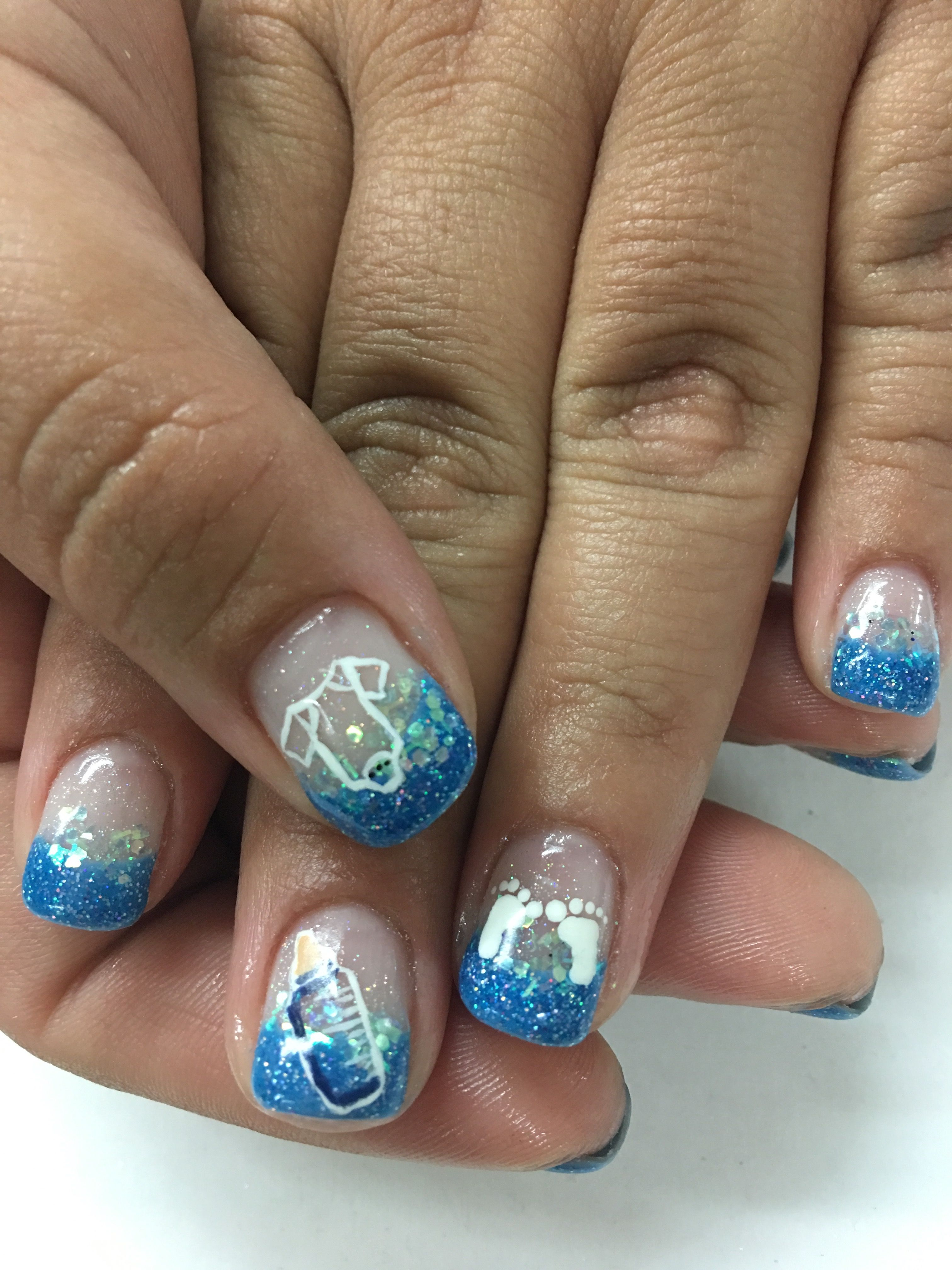 Baby Boy Shower French Glitter Hand Painted Gel Nails   Gel Nail ...