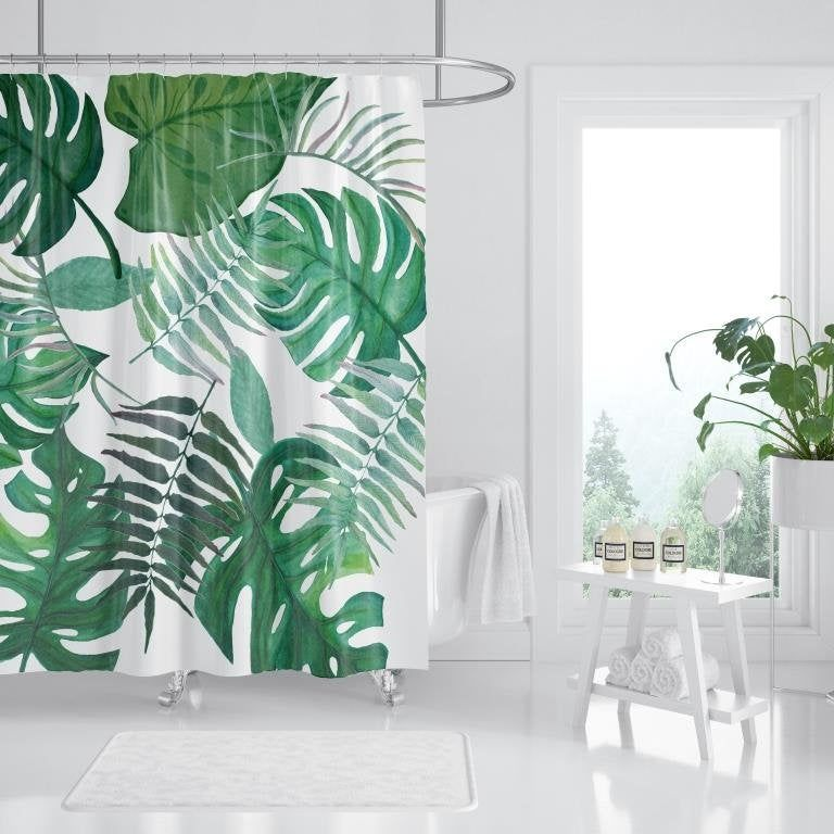 Leaf Shower Curtain Shower Curtain Bathroom Decor Tropical
