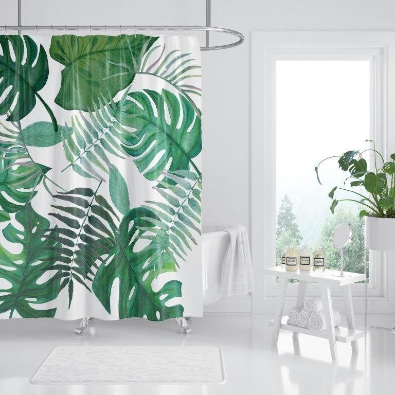 Leaf Shower Curtain Shower Curtain Bathroom Decor Tropical Bathroom Shower Curtains Home Decor Bath Curtain Curtain Leaves In 2020 Curtains Home