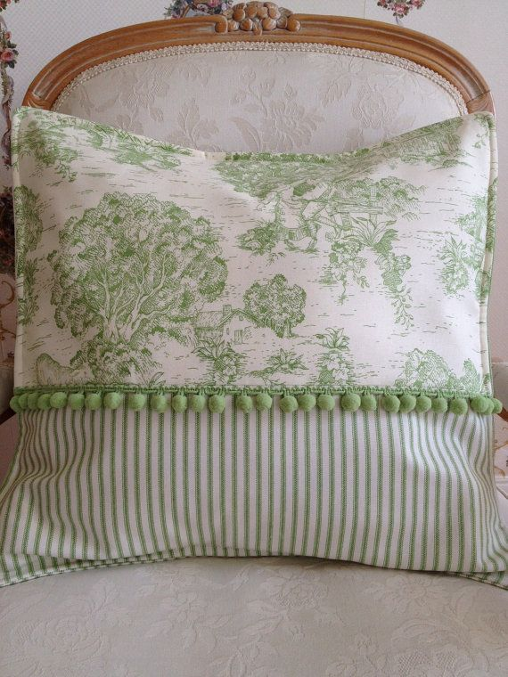 Photo of French Country Pillow Cover, Green Pillow, Toile Pillow, Ticking Stripe Decorative Pillow Cover, Sham, Case