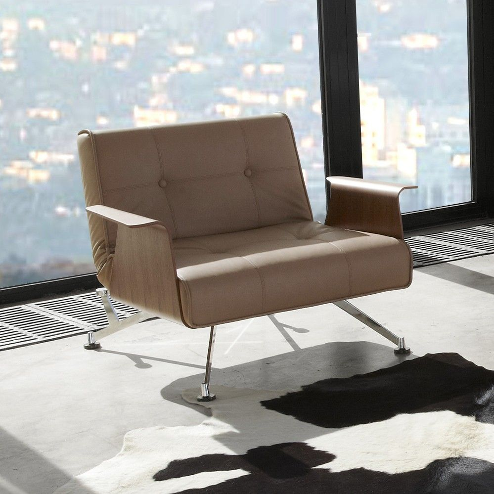 Innovation Clubber Sessel Innovation Klappsessel Clubber Grau Braun Sitting Schlafsofa