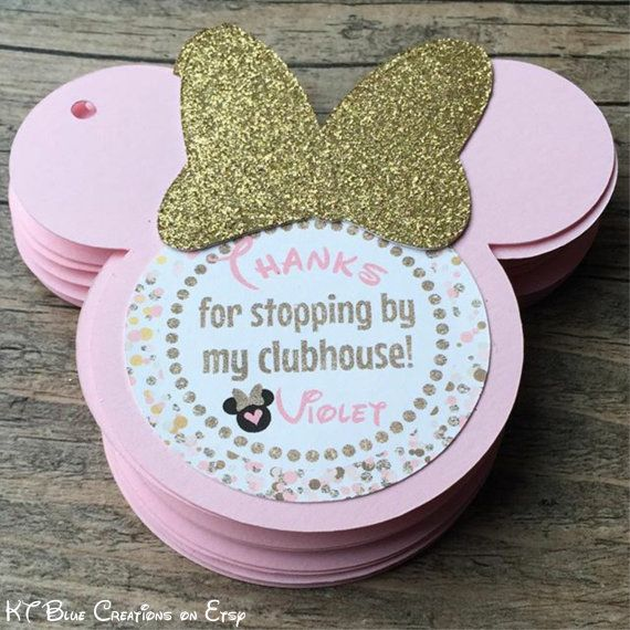 Minnie Mouse Favor Tags Pink Gold Minnie Party Minnie
