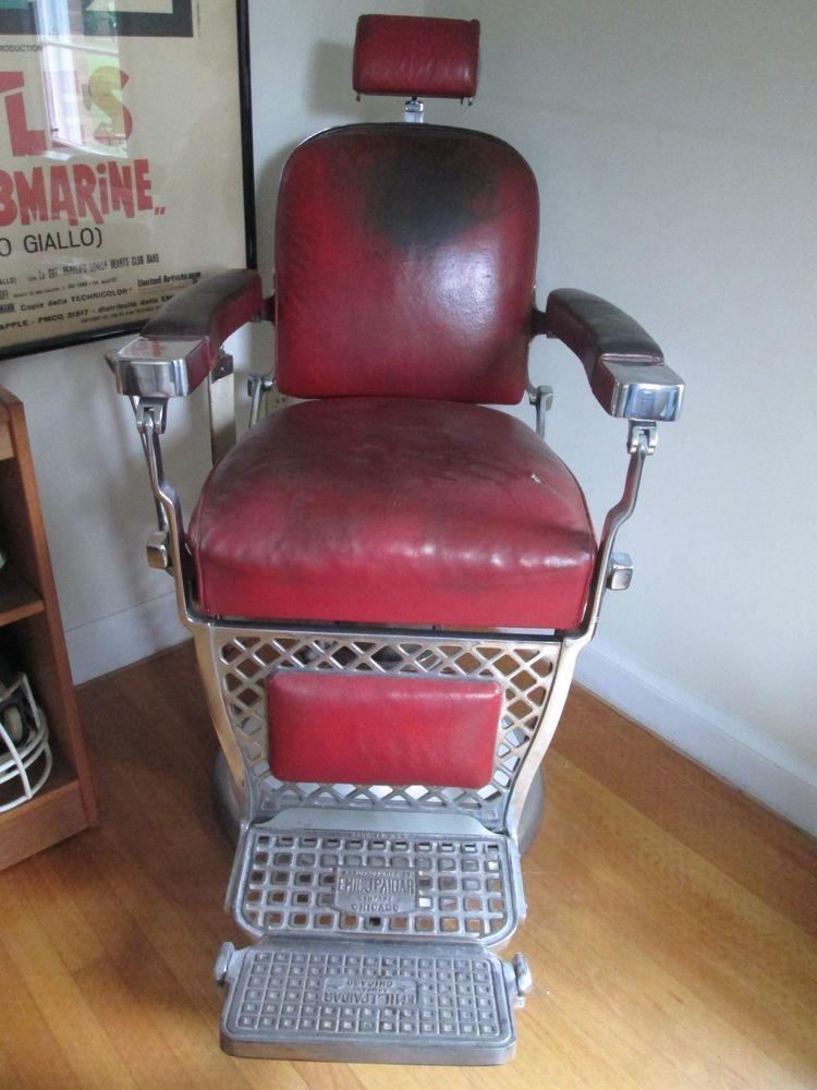 Theo A Kochs 1910 Antique Barber Chair Green Porcelain Heavy Freight Shipping Barber Chair Barber Barber Shop Quartet