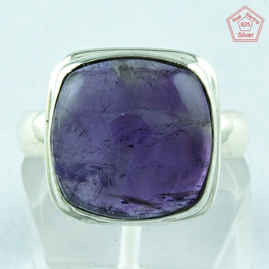 New Amethyst Stone Designer 925 Sterling Silver Ring S.8 US R2912…