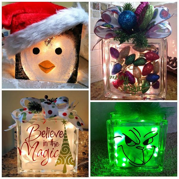 Charming Glass Block Craft Ideas For Christmas Part - 4: Christmas Glass Block Craft Ideas More