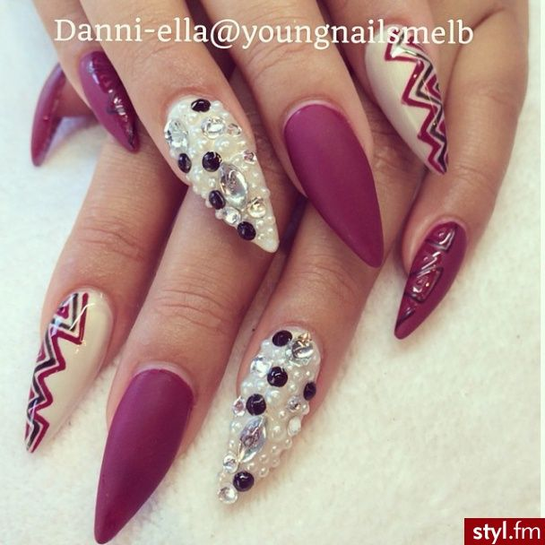 Matte Mauve stiletto nails with gemstones | Golden | Pinterest ...
