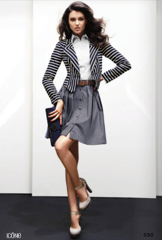Cute- striped blazer with button up skirt