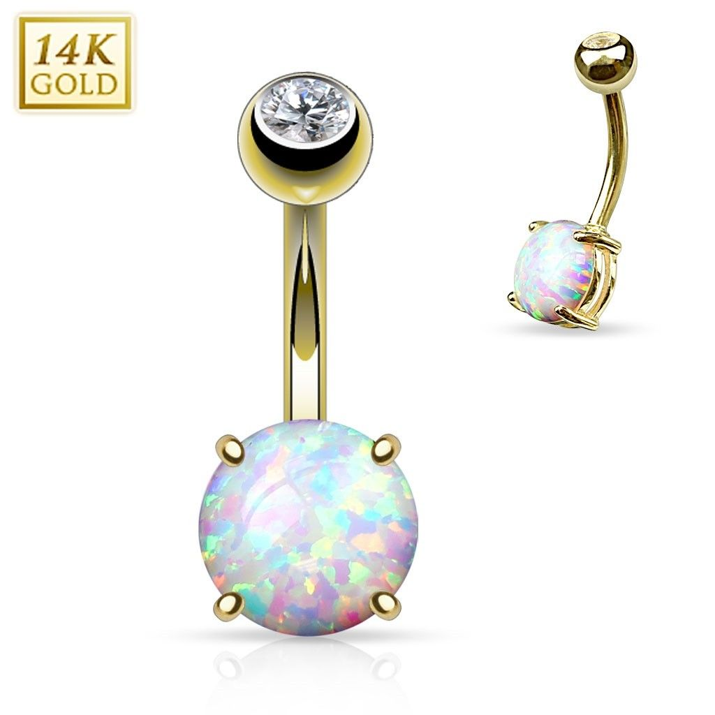 Gold belly piercing jewellery  K Gold with Prong Set Opal Belly Ring  Jewelry  Pinterest  Opal