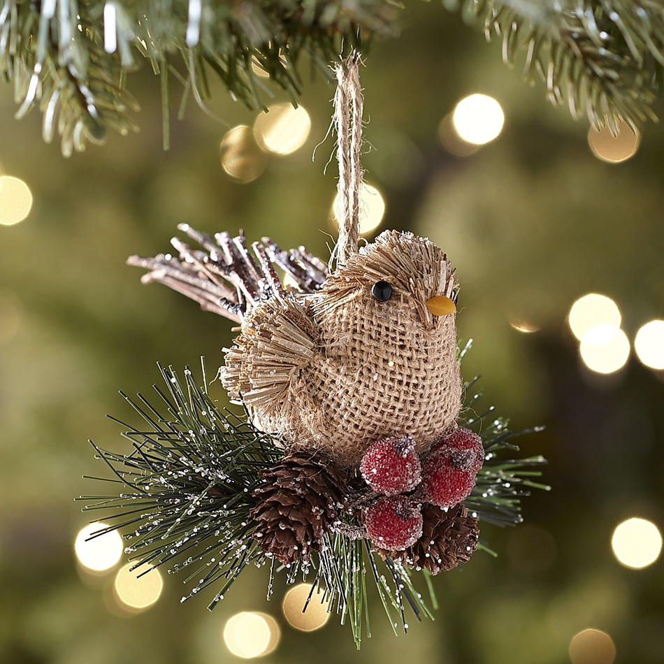 This adorable Natural Burlap Bird Ornament looks right at