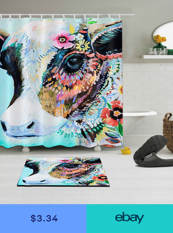 Colorful Cow Fabric Shower Curtain Set 180cm Waterproof Bathroom
