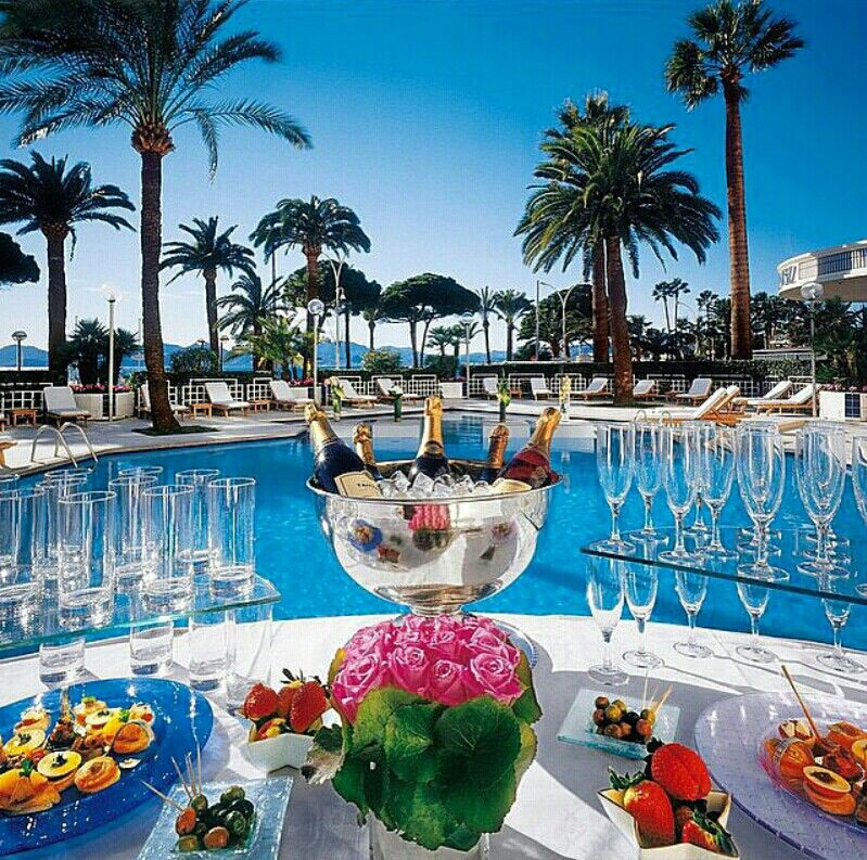 Luxury pool party with champagne Luxury pool party