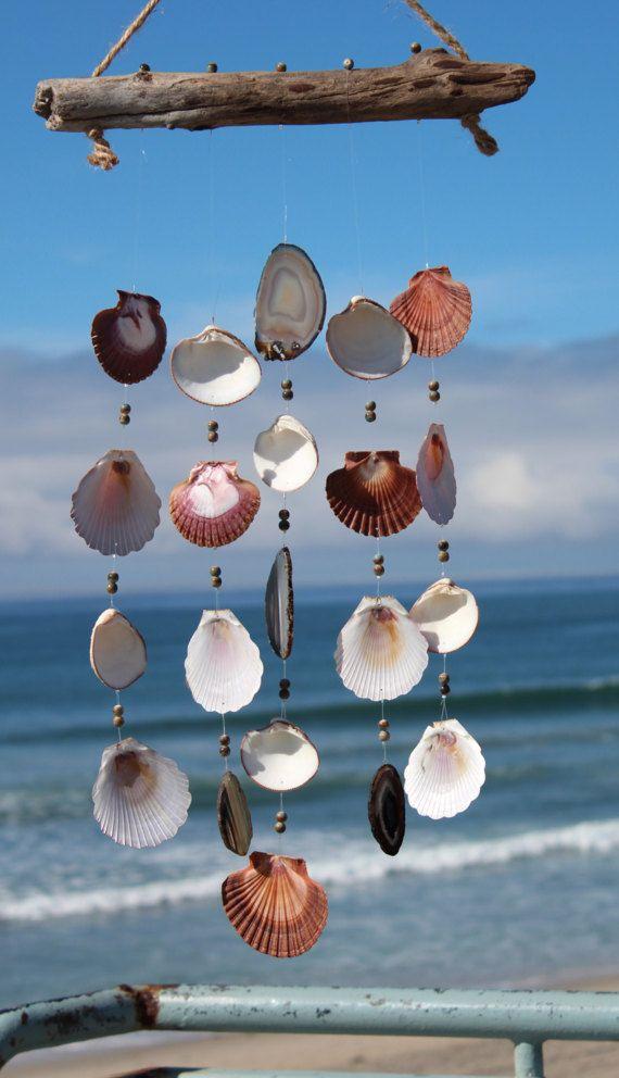 Driftwood Seashell Wind Chimes Handmade Housewarming Gift Beach House Decor Outdoor Mobile Agate Chime