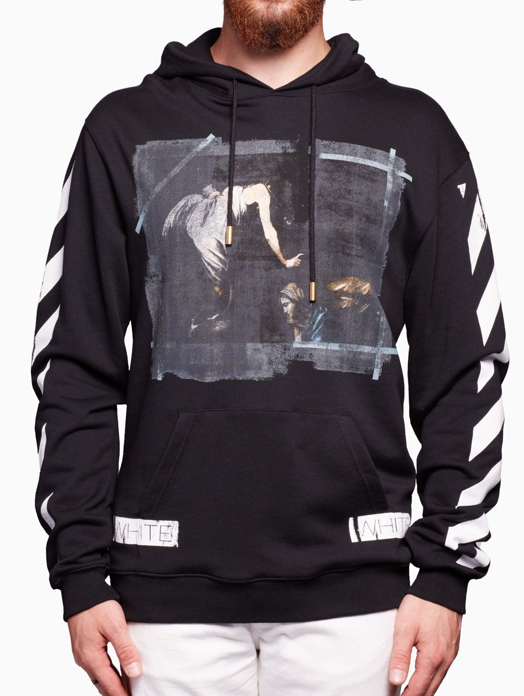 Caravaggio Hooded Sweatshirt From The S S2016 Off White C O Virgil Abloh In Black Sweatshirts Hooded Sweatshirts Hoodies
