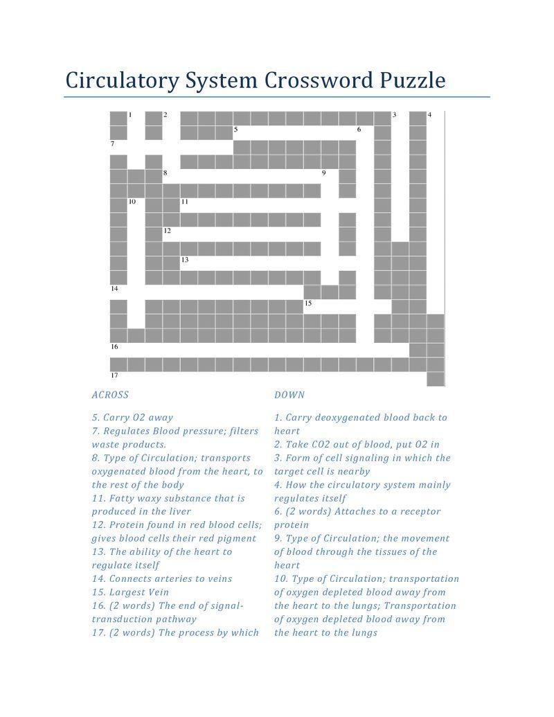 Respiratory System Crossword 3 001