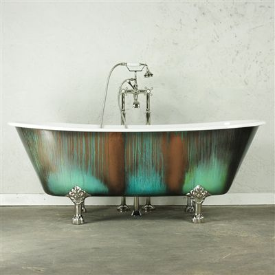 cast iron clawfoot tub value.  The LanercostBT68 68 Cast Iron French Bateau Clawfoot Tub with Copper Patinated Exterior