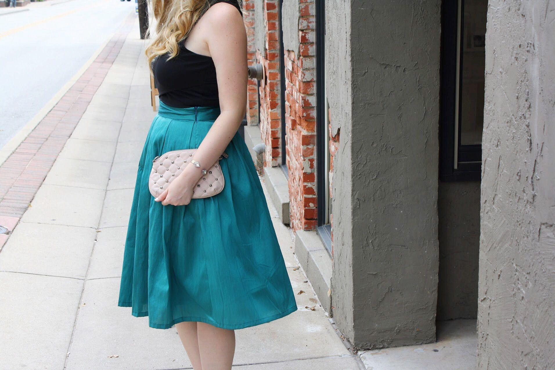 Emerald midi skirt full skirt taffeta skirt pink