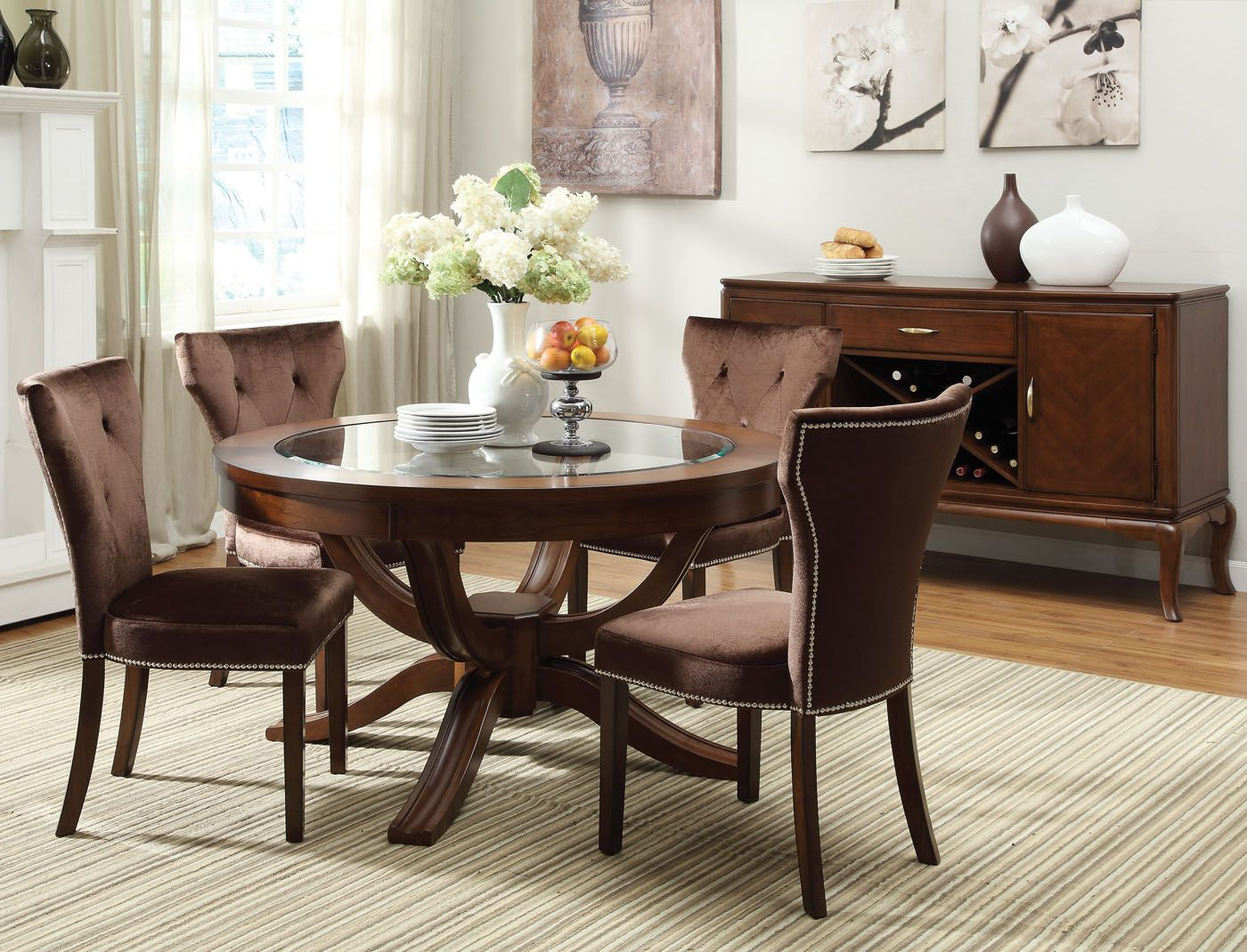 Acme Kingston 5 Pc Glass Top Round Pedestal Dining Table Set In