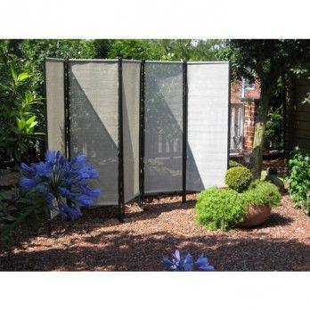 Luxury LECO Paravent teilig aus Stahlrohr anthrazit und Polyesterbezug schilf natur Gartenm bel von