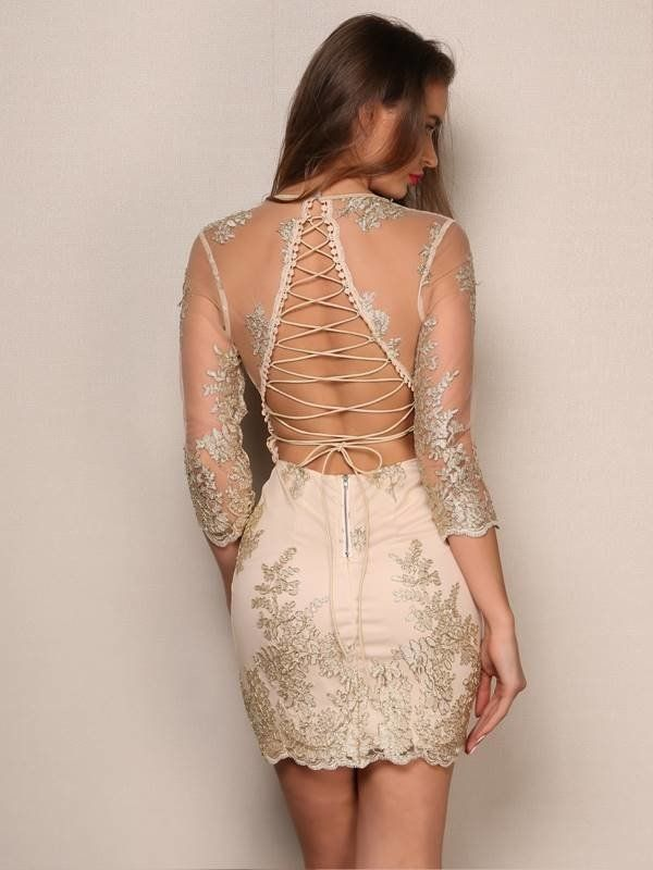Vestido em Renda com Decote nas Costas - Compre Online | Ladies mini  dresses, Elegant mini dress, Party dress long sleeve