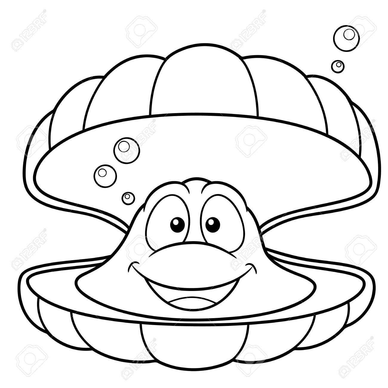 Ilustración Vectorial De Dibujos Animados Shell Coloring Book