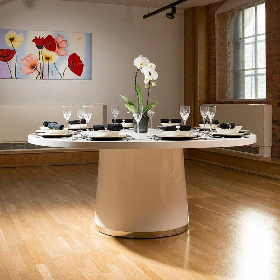 Extra Large Round Gloss White Corian Solid Surface Dining Table