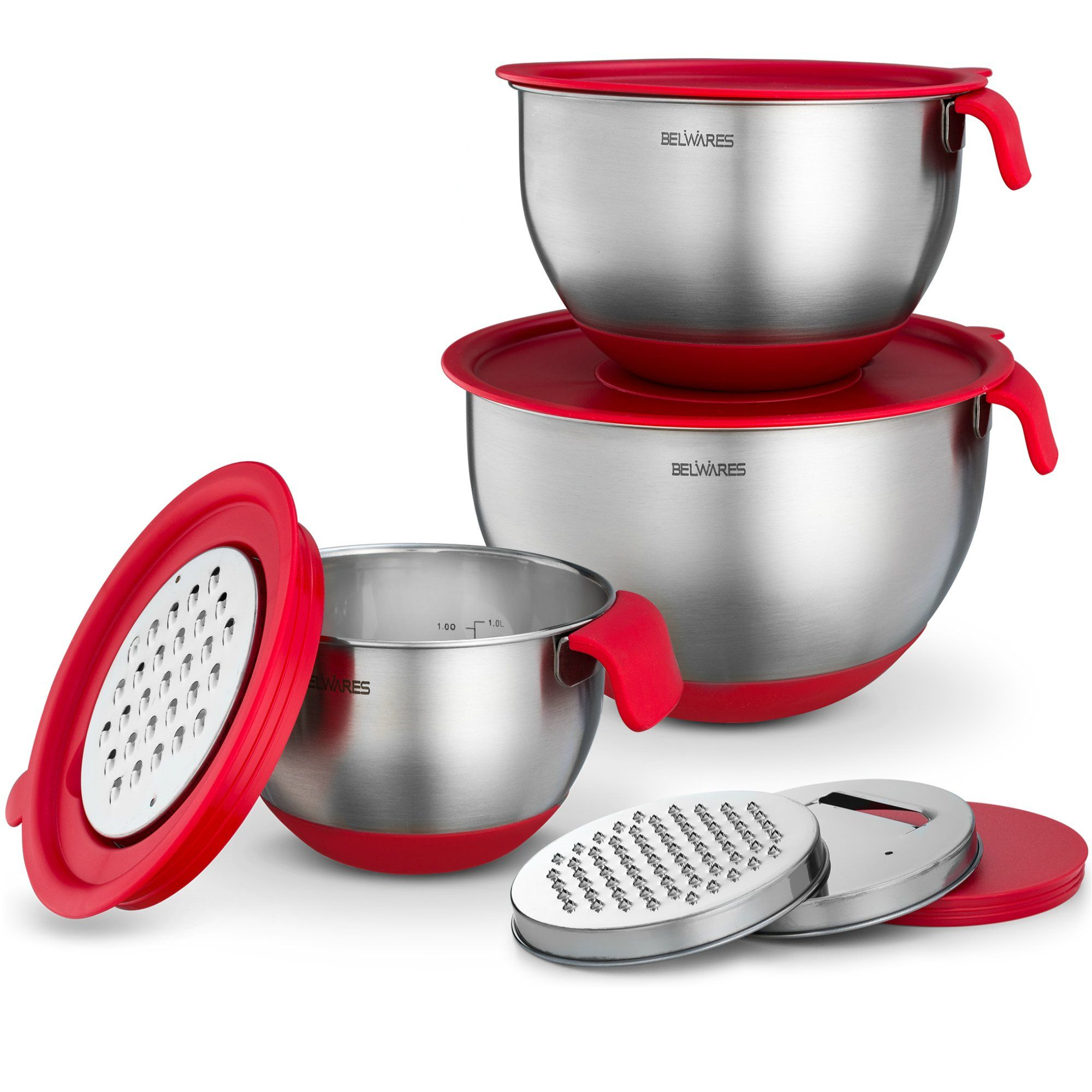 Best Stainless Steel Mixing Bowls Set of 3 with Grater Attachments ...