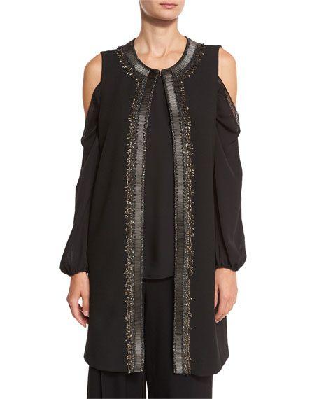 Elie Tahari Cheyenne Long Embroidered Cold-Shoulder Vest