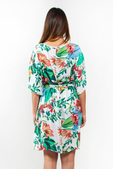 Abito con manica 'farfalla', stampa floreale - Dress with butterfly sleeves, floral print #dress #abito #spaziostile