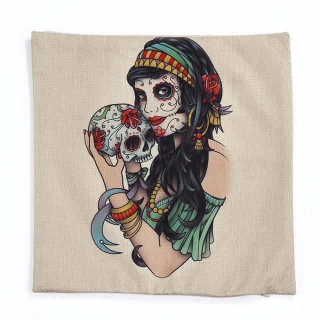 How To Wash Throw Pillows Without Removable Cover Halloween Mexican Sugar Skull Cushionno Innerdecorative Throw
