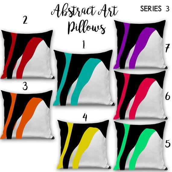 Abstract Art Pillows / Yellow / Blue / Pink by WickedSpiritFashion