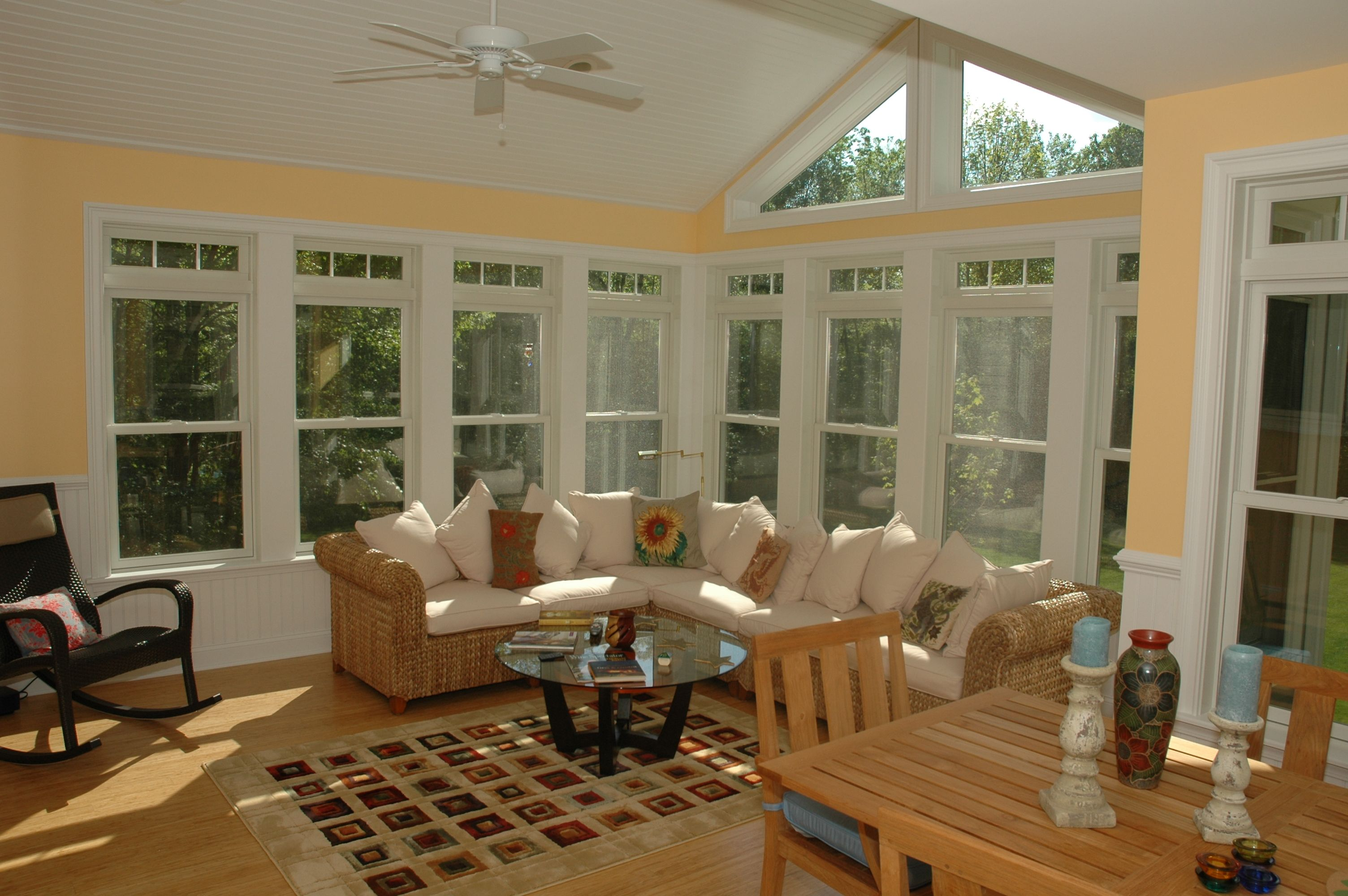 three season room - bead board under windows to match ceiling
