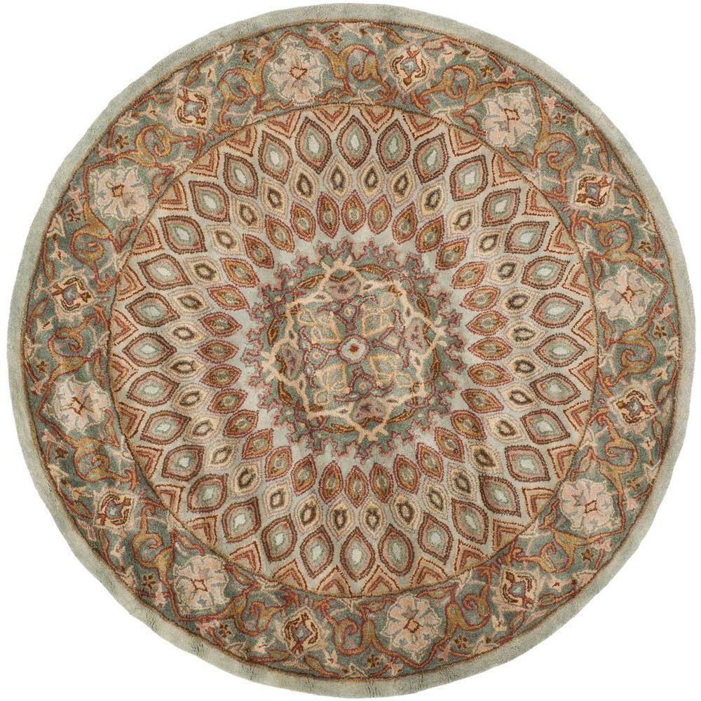 Safavieh Heritage Blue Grey 4 Ft X 4 Ft Round Area Rug Hg914b 4r