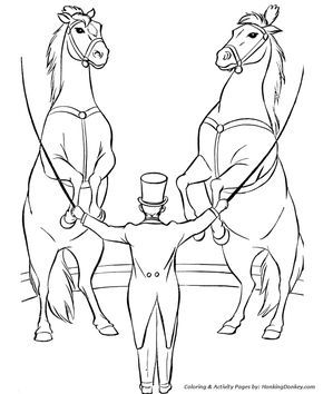 Circus Animals Coloring Page Trained Horses Horse Coloring