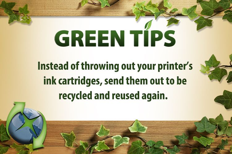 Instead of throwing out your #printer's #ink #cartridges, send them out to be #recycled and #reused again. #greentip