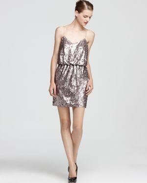 Aqua Sequin Dress - Spaghetti Strap Blouson