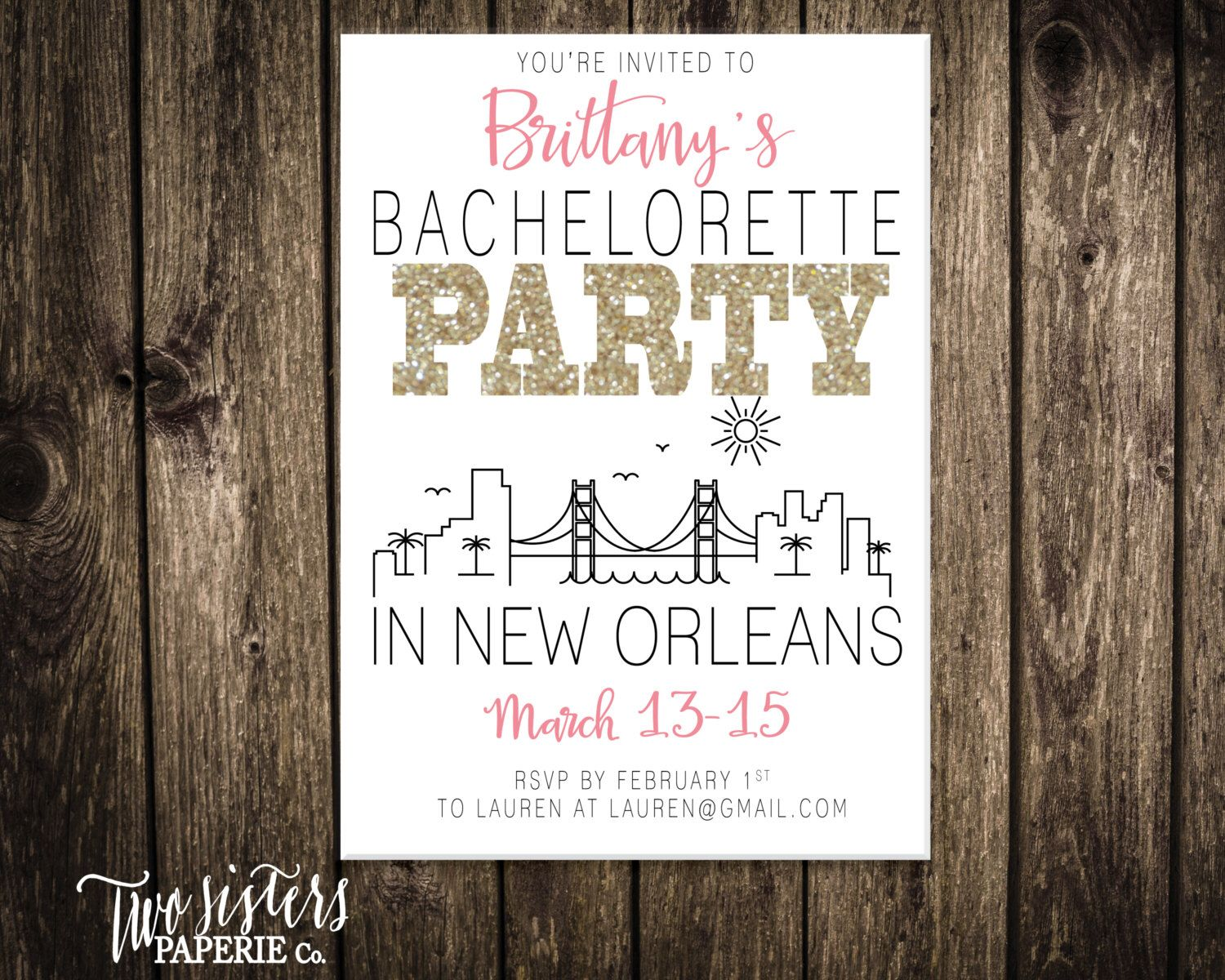 New Orleans Bachelorette Party Invitation and Itinerary - NEW ...
