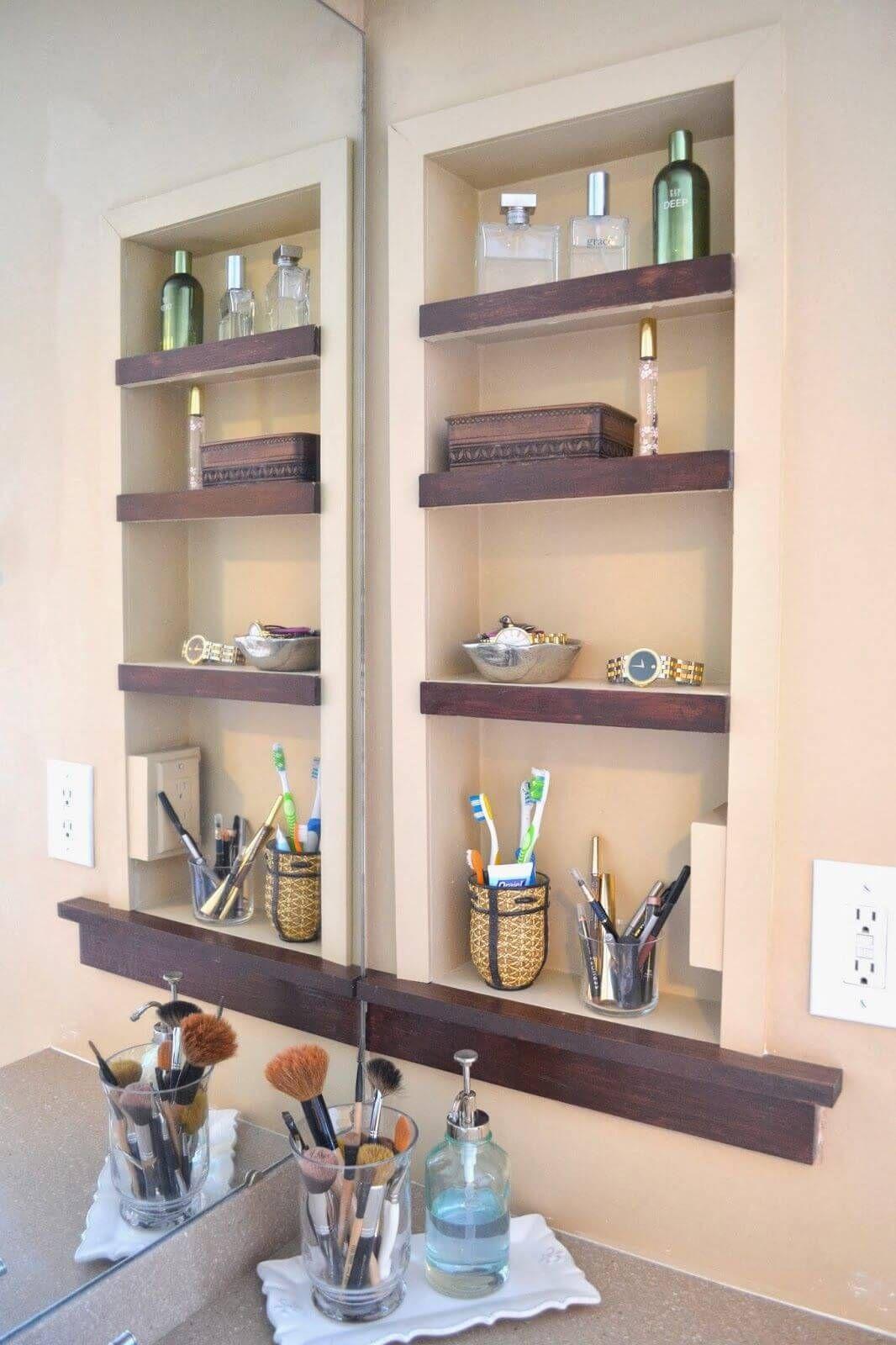 25 Brilliant Built In Bathroom Shelf And Storage Ideas To Keep You Organized With Style Bathroom Shelf Decor Bathrooms Remodel Small Bathroom
