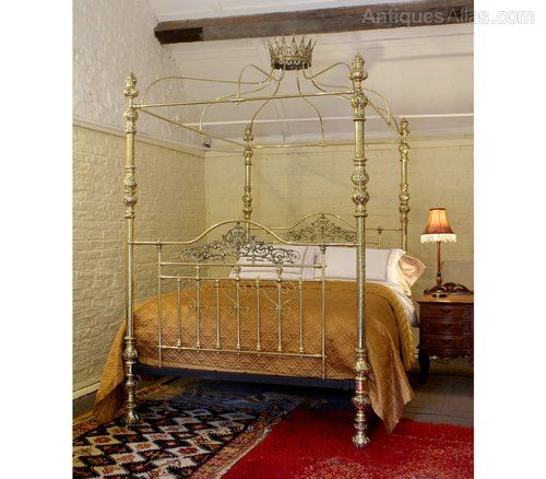 All Brass Crown And Canopy Four Poster Bed Mkb8 Antiques Atlas
