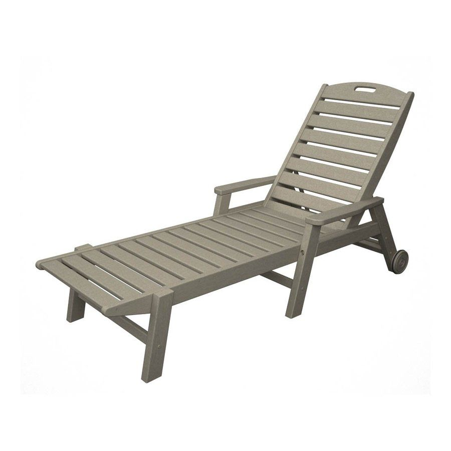 POLYWOOD Nautical Sand Plastic Patio Chaise Lounge Chair