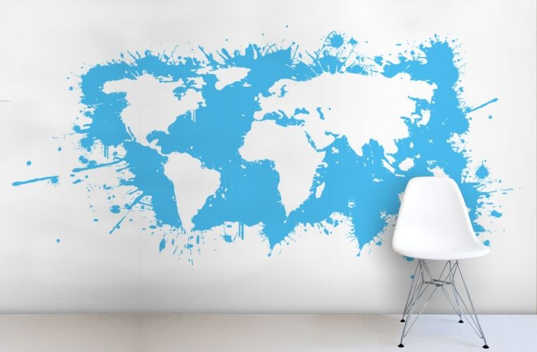 Blue splash world map wallpaper wall mural muralswallpaperuk blue splash world map wallpaper wall mural muralswallpaperuk gumiabroncs Choice Image