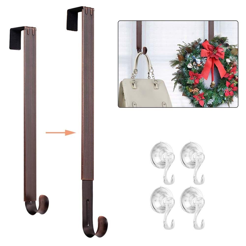 Adjustable Wreath Hanger Door Hook Metal Wreath Hanger For Front Door With 4 Pack Suction Cup Hooks Set For Backpack Handbag Clothes Purse Welcome Sign Bronze Bronze