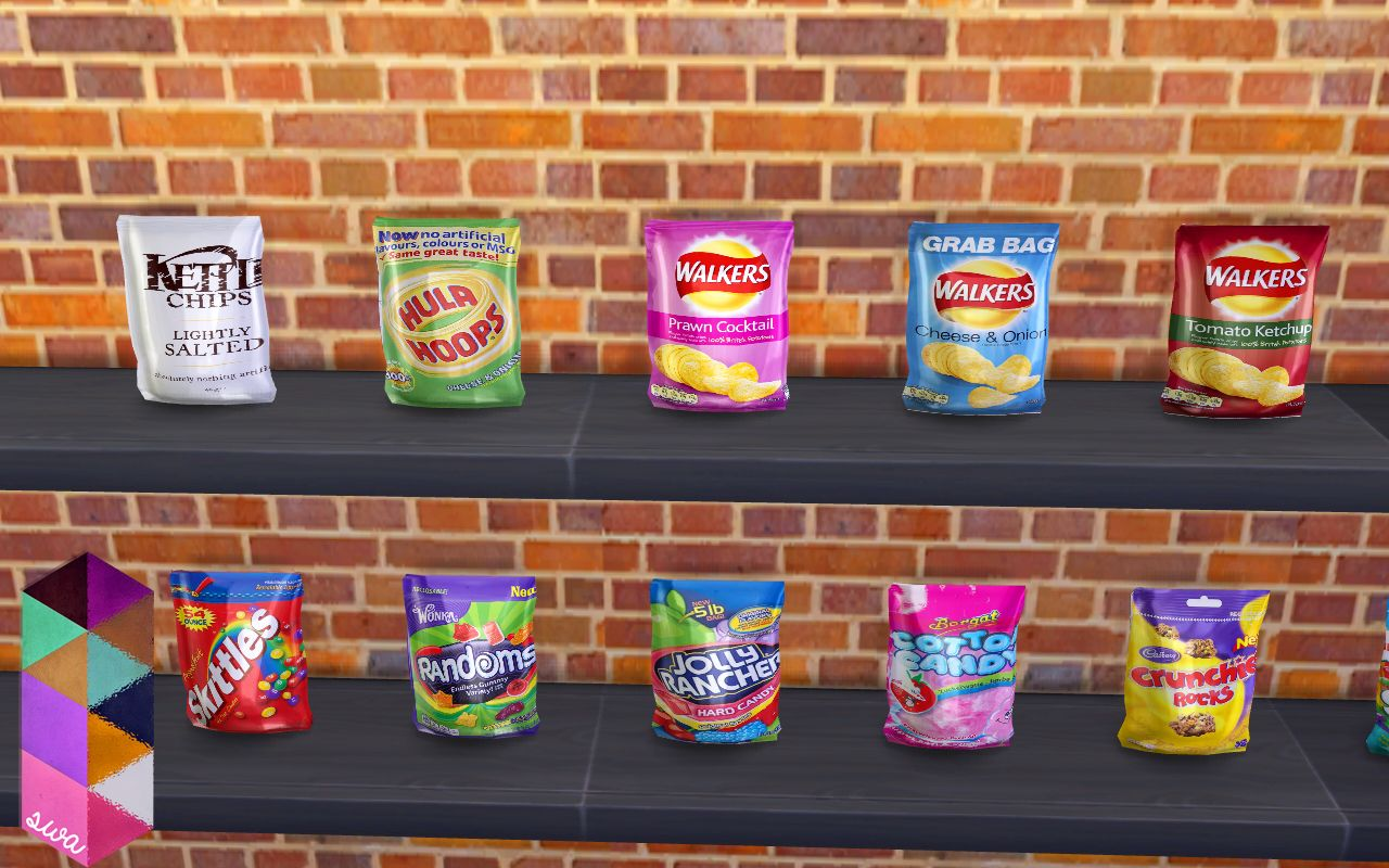 My Sims 4 Blog Candy and Chips Clutter Set by SimmingWithAbbi Sims 4 Objects