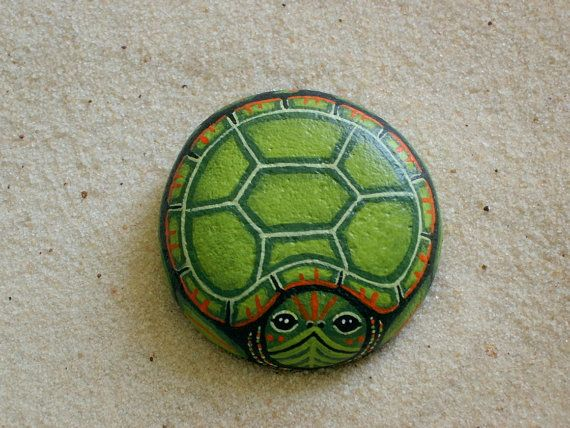 Turtle Painted Rock Ooak Garden Art Decor Handmade By RockArtiste