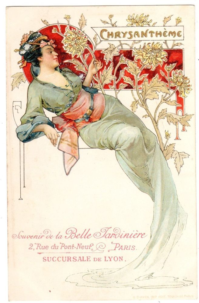 POSTCARD FRENCH ART NOUVEAU WOMAN WITH CHRYSANTHEMUMS BELLE JARDINIERE