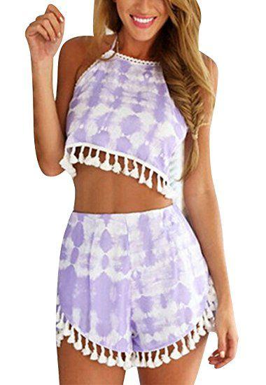 d471793eefcf Women s Floral 2 Piece Crop Top + Shorts Set Romper. Available color   Purple