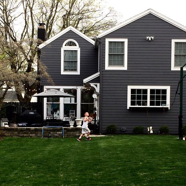 House No 214 On Instagram Our Sunday Mornings Involve Playing Outside In The Backyard On A Side Note Gray House Exterior House Exterior Black House Exterior