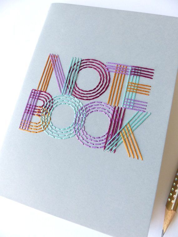 Hand embroidered multicolor NOTEBOOK typography-writing accessory-notes-office-bullet journal-craft embroidery-graphic textile design-gift #textiledesign