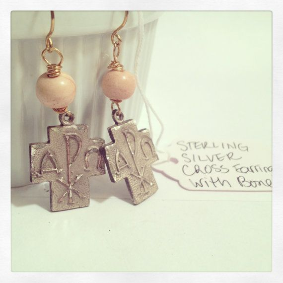 Alpha Omega ChiRho Sterling Silver Cross Earrings  by jewelsandmud, $97.00