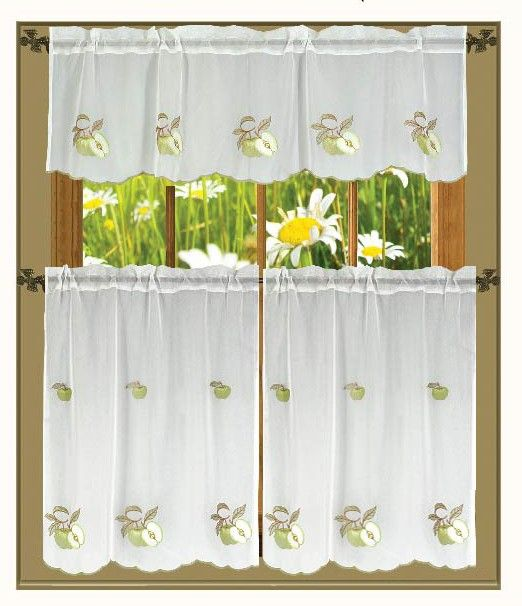 LEGACY GREEN APPLE EMBROIDERED 3-PIECE SHEER KITCHEN CURTAIN SET - 30X36