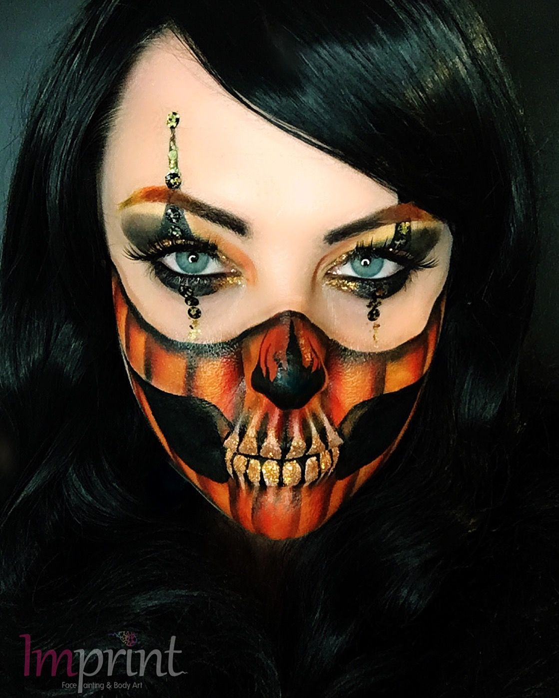 Glam Pumpkin Skull 🎃💀 Artist Zoe Billows IMPRINT FACE